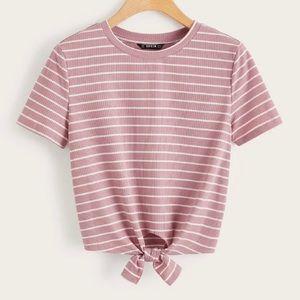 Short Sleeve Ribbed Tie Shirt